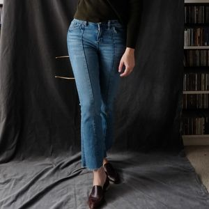Zara z1975 Mini Flared Blue Jeans Crop